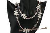 rpn313 Beautiful White biwa pearl and purple cultured Pearl rope Necklace