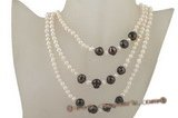 rpn314 Smart White and black Cultured Potato Pearl rope costume necklace