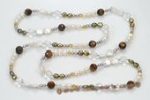 Rpn357 Casual Design Freshwater Pearl and Tiger's eye Stone Rope Necklace