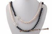 Rpn362 Hand Knotted White and Black Potato Pearl Rope Necklace