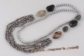 Rpn366 Fabulous Cultured Freshwater Pearl and Gemstone Rope Necklace