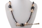 Rpn368 Fantastic Black Agate and Freshwater Nugget Pearl Party Opera Necklace