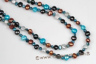 Rpn372 Amazing Colorful Gradual Nugget Pearl Rope Necklace