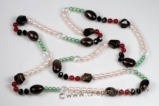 Rpn373 Inspirational Colour Cultured Pearl and Gemstone Rope Necklace