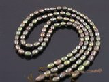 rs07 five strands dye color 5-6mm rice shape cultured pearl strands