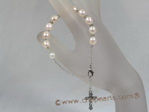 rybr008 white rice-shape cultured pearl rosary bracelet in wholesale