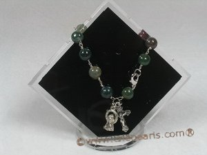 rybr016 Wire-wrapped 8mm India Onyx Rosary bracelet