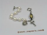 rybr022  Wire-wrapped white potato pearl rosary bracelet in wholesale