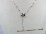 sc017 18inch 925 Sterling silver box lariat chain with pendant mounting