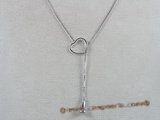 sc018 18inch 925 Sterling silver box lariat chain with pendant mounting