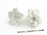 SE010 18mm nature color carve flower design shell sterling studs earrings