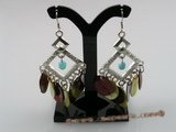 SE034 multi color mother of pearl shell silver Chandelier Earrings