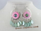 SE035 10*15mm tear-drop shell beads Chandelier Earrings