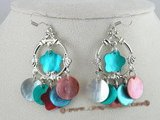SE036 silver multi-color shell beads Chandelier Earrings