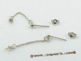 sem014 wholesale 925silver 3mm Ball dangle Earrings fitting with sterling studs