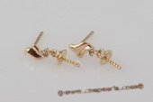 Sem086 18K Yellow Gold Stud Earrings Mounting with Diamonds