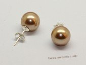 shpe006 10mm Bronze round shell pearl 925silver studs earrings