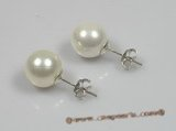 shpe010 sterling siver 10mm white round shell pearl studs earrings