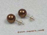 shpe011 sterling siver coffee south sea shell pearl studs earrings