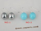 shpe020 925silver 10mm round shell pearl dangle earrings in grey and turquoise