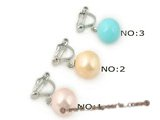 shpe034 silver plate non-pierce clip earrings with 10mm south shell pearl