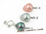 shpe036 925silver non-pierce clip earrings with 12*15mm teardrop south shell pearl