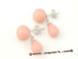 shpe042 sterling 8mm round pink shell pearl stud earrings