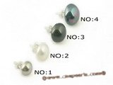 shpe043 different colour bread shell pearl sterling studs earrings