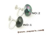 shpe045 sterling silver 12mm shell pearl screwback  Non Pierced clip earring