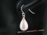 shpe064 Sterling silver 10*14mm pink teardrop shell pearl dangle earrings in wholesale