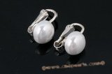 shpe066 Sterling silver 10mm shell pearl Clip Earrings on sale