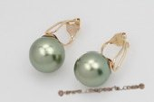 Shpe068 14K Gold 12mm oliveine green shell pearl non-pierce clip earrings