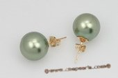 Shpe069 14K Yellow Gold peacock green shell pearl  studs Earring