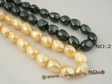 shps002 Wholesale 16*20mm nugget shape shell pearl bead strand in black or gold color