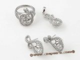 sms014 Sterling silver sparkling designer jewelry mounting set wholesale