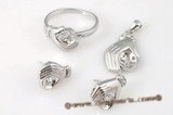 sms022 Sterling silver hand shape pearl jewelry mountings sets