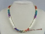 SN012 multi-color oval shell beads twisted necklace