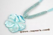SN020 Carve Flower Shell Pendant on Blue Bead Necklace