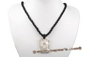 SN021 Black Seed Beads Necklace with Square MOP Shell Pendant
