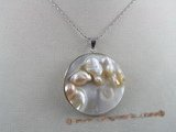 sp004 50mm round oyster shell pendant with pearl inside