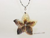 sp006 40mm MOP pearl shell carved starfish pendant
