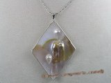 sp009 45mm rhombus oyster shell pendant with pearl inside