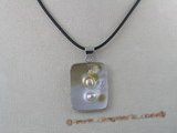 sp034 18KGP 26*34mm square oyster shell pendant with pearl inside