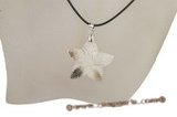 sp035  starfish design MOP pearl shell Leather pendant Necklace