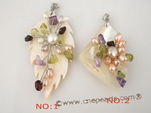 sp087 wholesale Carve mohter of pearl shell pendant with cultured pearl