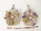 sp107 Carve flower shell pendant with freshwater pearl in wholesale