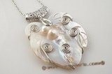 sp115 Hand worked 60*70mm large size mother of pearl pendant in leafe shape