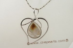 sp120 wholesale 40mm heart pattern white shell pendant in low price