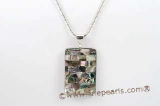 sp128 30*40mm oblong pattern mother of pearl shell pendant necklace