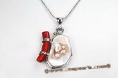 Sp151 Modern Red Coral & Shell Silver toned Pendant Necklace